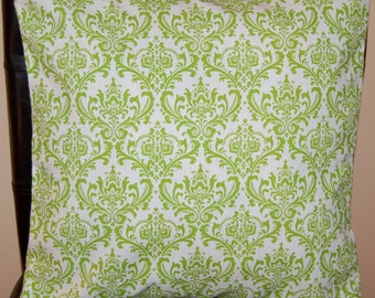 "16"" x 16"" Lime Green Damask Print Contemporary Cushion Cover"