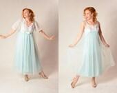 Vintage 1960s Lingerie Peignoir Set - Ice Blue Lace - Bridal Trousseau Fashions