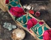 "Thistle: Purple, Fuchsia Flowers on Sand Silk Trim / Ribbon / Sari Border / India, 3 3/8"" x 1 yard / Fresh Boho, Woodland Fashion, Supplies"