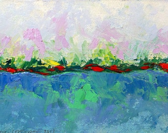 """Original abstract landscape oil painting on canvas board 4""""x6"""" blue red green turquoise yellow white"""