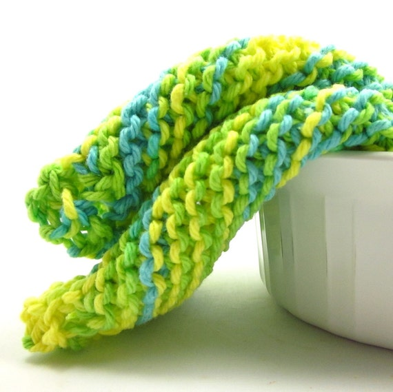 Knit Dishcloths Kitchen Cotton Summer Splash Yellow Aqua Lime Green Cleaning Wash Cloths