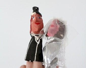 wedding puppets, folk art bridal puppets, vintage finger puppets