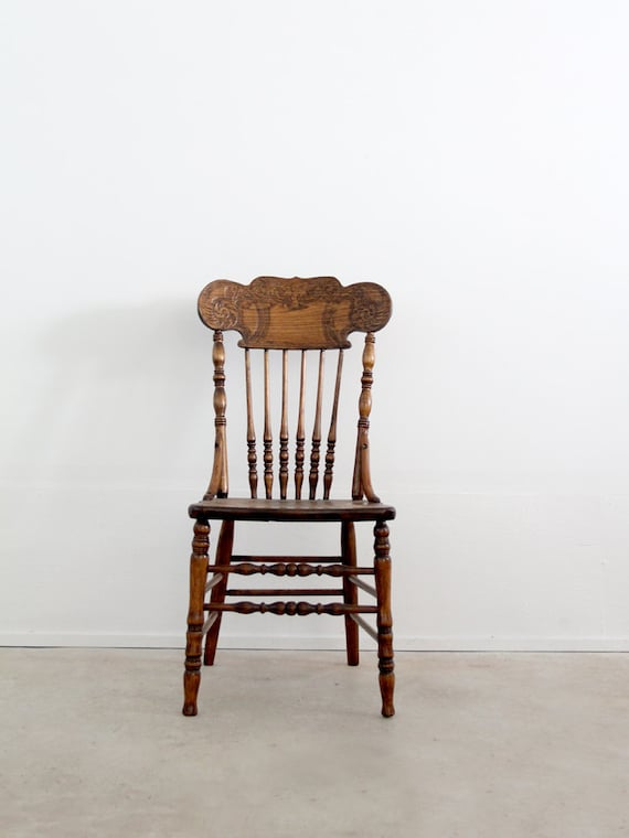 Pressed Back Dining Chairs ~ Antique press back wood chair spindle dining