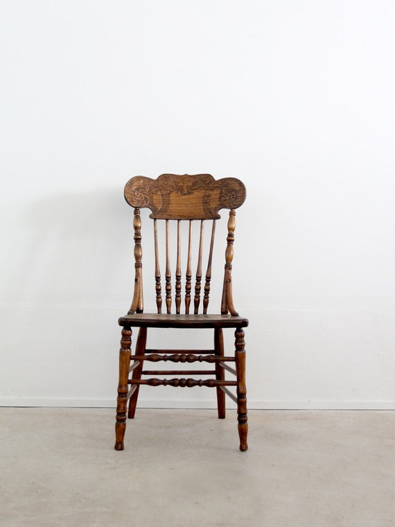 Antique Press Back Wood Chair Spindle Dining Chair