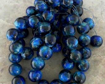 Marine Blue 14mm Round Glass Beads                   CC-90025