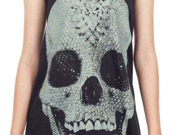 Diamond Skull Shirt Diamond Skull Tank Top Punk Rock Day of the Dead Tank Women Shirt Top Vest Sleeveless Tank Top Size M,L,XL - IZJBT17