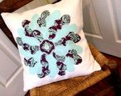 Applique Flower PIllow Cover in Aqua and Plum