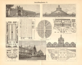 1893 World's Fair Architecture, Exhibition Buildings from the 19th Century Original Antique Engraving to Frame