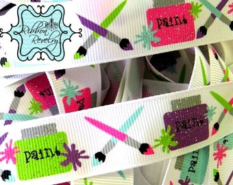 "GLITTER Paint pots & paint brushes printed on white 7/8""  grosgrain ribbon"