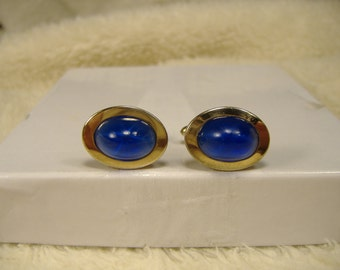 Vintage 1960s Blue Stone Oval Cufflinks