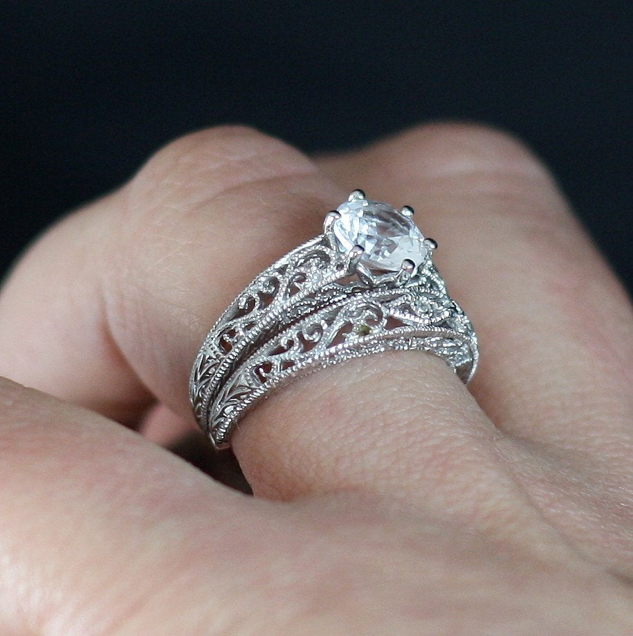 white sapphire solitaire filigree milgrain engagement ring. Black Bedroom Furniture Sets. Home Design Ideas