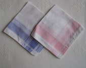 Vintage Handkerchiefs - Vintage Hankies - Two Pink, Two Blue - Modern Style Plaid Design