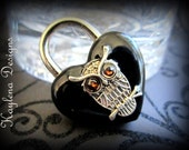 Owl ,Large Heart Lock, BDSM Lock, lock and key, locking Jewlery