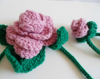 Crochet Rose Lariat Necklace or Scarf in Pink
