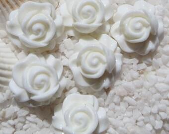 Resin Rose Swirl Cabochon - 16mm - 12 pcs -  White