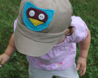 Owl Newsboy Cap Upcycled Baby Toddler Boy Hat / Photo Prop