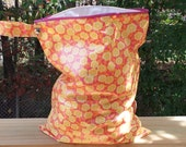 Washable wet bag large waterproof fully lined Yellow Flowers