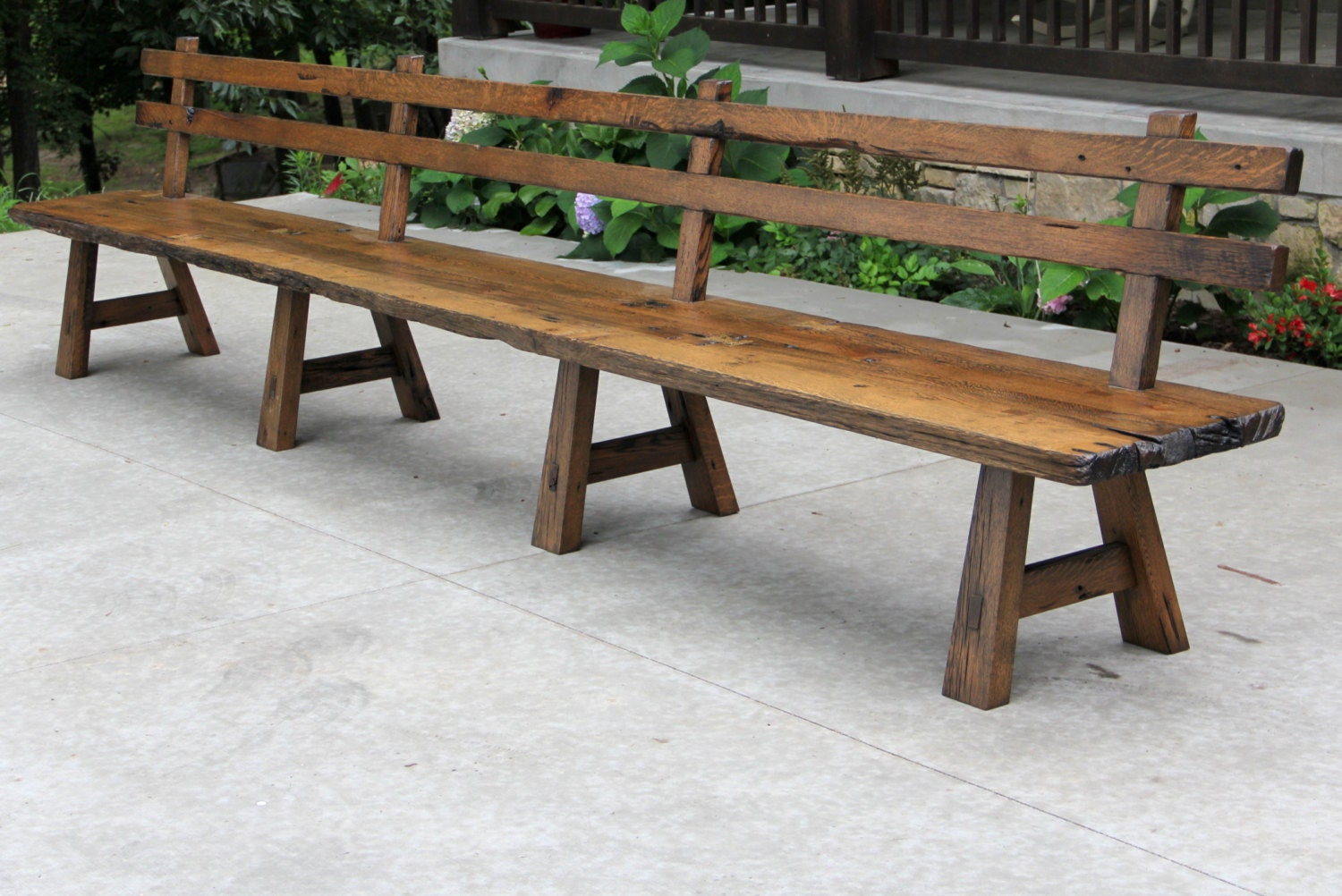 Live Edge Barn Wood Bench With Back Rest 15 39 Long