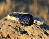 Black with Purple Diamond Dichroic Glass Hemp Bracelet