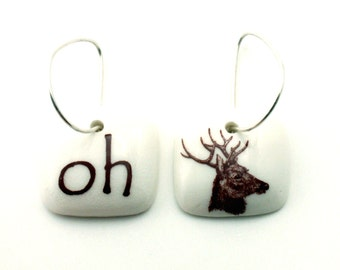 Oh Dear Earrings Porcelain Valentines Day Funny Animal Forest Handmade White Brown on 925 Sterling Silver Hoops