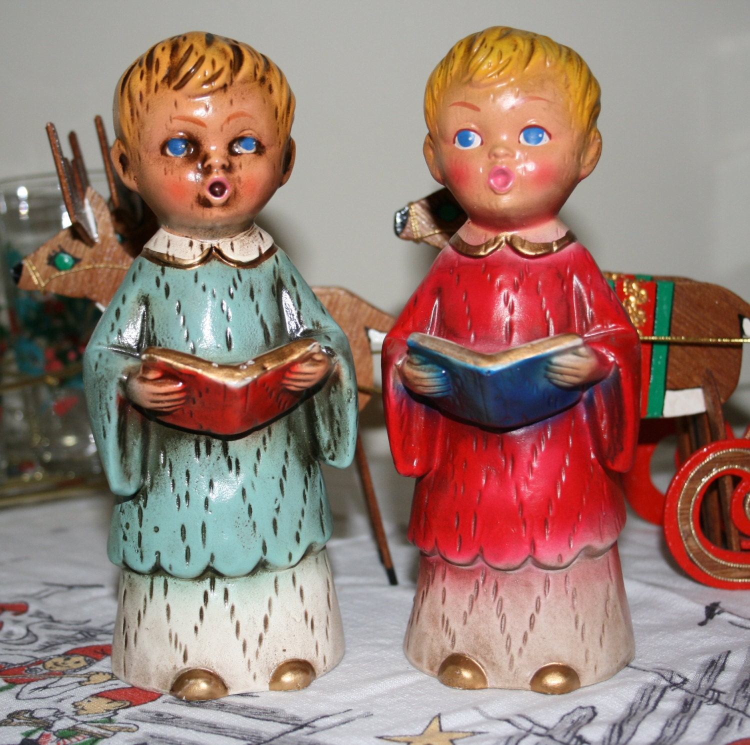 Singing Carolers Candleholders Figurines Vintage By: Vintage Choir Boys Carolers Figurines Pair Chalkware Plaster