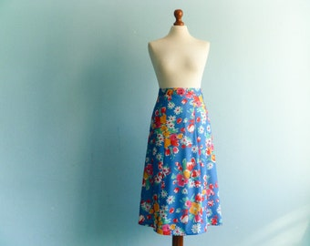 Vintage blue multicolor floral skirt / a line / high waisted / below knee / midi / medium small