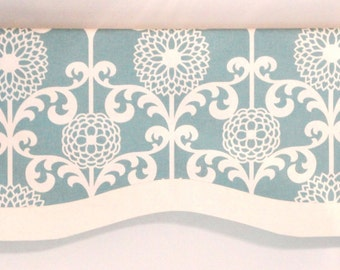 Window Valance Blue White Decorative Band Lined Invisible Rod Pocket MADE TO ORDER