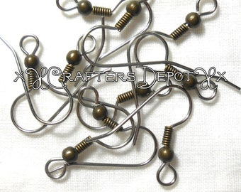 20 Pieces Surgical Steel Earring Raw French Hook Antique Bronze Brass Tone Ball and Coil SALE USA