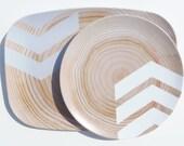 """Modern Wood Simple Chevron 14"""" Melamine Platter, White/Gray"""