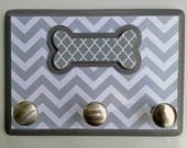 Leash Hanger, Gray and White Chevron with Dog Bone Accent