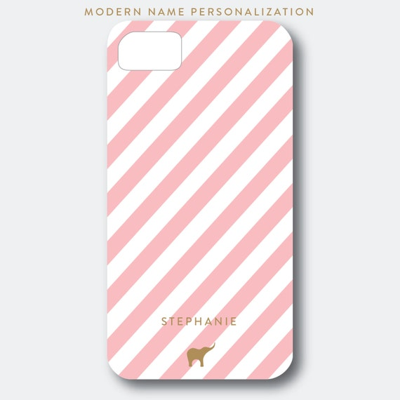 Personalized iPhone, Samsung Galaxy, or Blackberry Case - Stephanie Collection - Classic and Simple Stripes shown in Pink, White, and Gold
