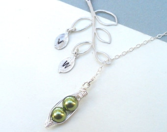 Two Peas In A Pod Personalized Lariat  Branch  Necklace Ideal Gift For Sisters Moms Or Best Friends