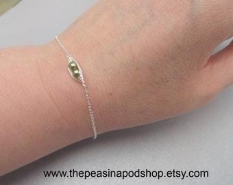 Petite Sweet Peas In A Pod Bracelet Swarovski Pearl Bracelet Skinny  Sterling Silver Chain Layering Bracelet