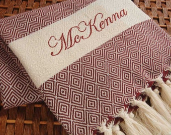 Personalized HandWoven Turkish Towel BURGUNDY Diamond COTTON PESHTEMAL - Monogrammed Embroidered