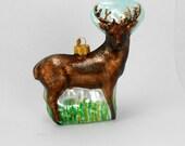 vintage mercury glass deer Christmas ornament 3D buck ornament mica trim