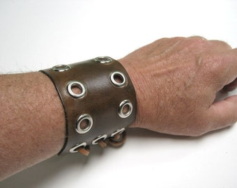 Brown Leather Wristband Goth Wristband SCA Medieval Bracer Barbarian Wristband Leather Bracer Cosplay