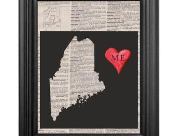 Dictionary Art Print - Maine - 8x10