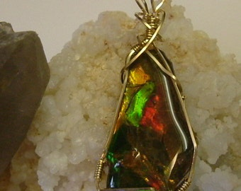 Large Bright Gem Red, Green and Gold Ammolite from Utah Deposit, Gold Filled Wire Wrap 122