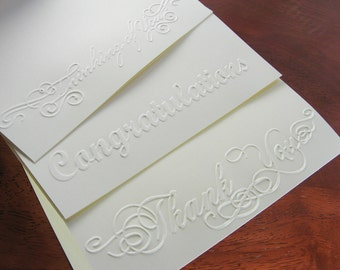 Embossed Cards Set of 6 Blank Note Cards - Congratulations, Thank You, Thinking of You