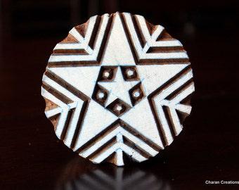 HALF PRICE SALE  Hand Carved Indian Wood Stamp Block- Star Snowflake