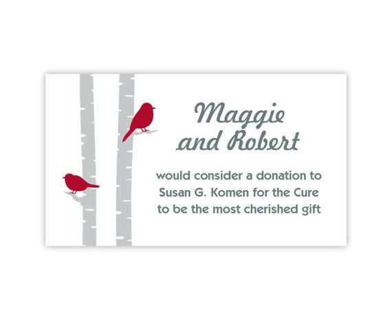 Wedding Website Cards, Enclosure Cards, Wedding Hashtag Cards or Gift Registry Cards, Printed, Birch Trees with Birds, 20 Pieces Per Order