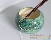 Ceramic Yarn Bowl handmade blue and green