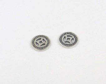 925 Sterling Silver Finding Karen Hill Bead Spacer Chinese Old Flat Coin 1x10mm Hole size 1.2mm 1.1gr 0527 Wholesale Silver Beads