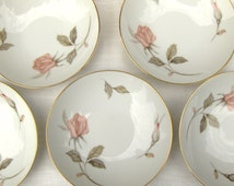 5 Vintage Berry Bowls Nancy by Sango Fruit / Dessert Pink Rose Sauce Dishes - #3509