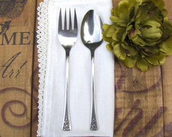 Vintage Cold Meat Fork & Serving Spoon Pasadena Northland Oneida Stainless Steel Hostess Set - #3372