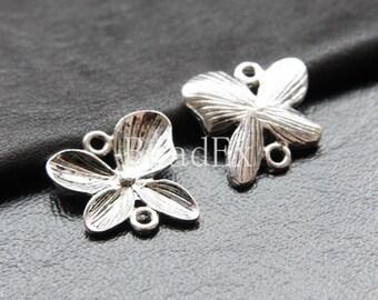 10pcs / Link / Flower / Oxidized Silver Tone (ZA12417//K96)