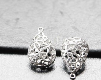 2pcs / White Gold /  Teardrop /  Brass Base / Charm (ZC4885//J107)