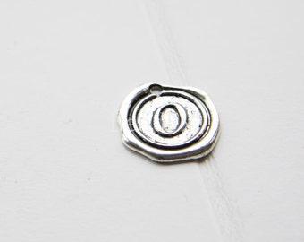 12pcs / Wax Seal Letter / Oxidized Silver Tone / Base Metal / Charm / Alphabet O (YA15706//E318)