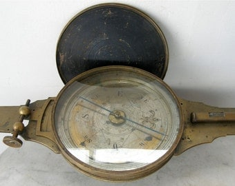 SURVEYORS TRANSIT COMPASS Antique American Vernier's Compass Brass Body Original Case Meneely & Oothout West Troy N Y 1830's Free Shipping!