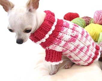 Dog Sweater XXS Pink Teacup Chihuahua Clothes Puppy Costumes Pet Cat Girly Kimono Japan Handmade Knit DK855 By Myknitt - Free Shipping